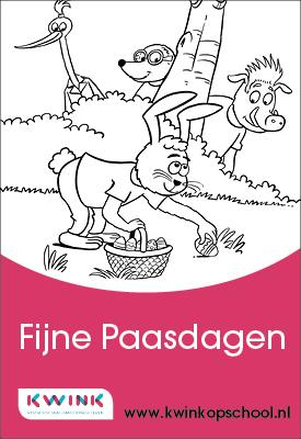 Kwink-kleurplaat voor de Pasen voor in de klas of thuis