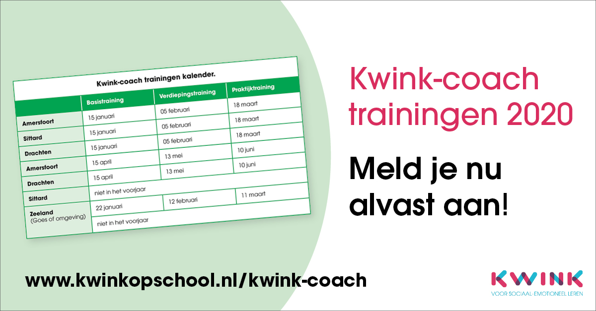 Kwink-coach trainingen in 2020; meld je alvast aan!