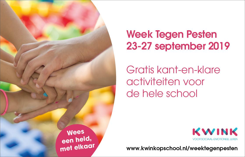 Week Tegen Pesten, gratis materiaal voor de hele school van Kwink