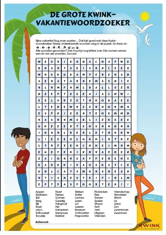 Kleurplaat en woordzoeker voor de zomervakantie!